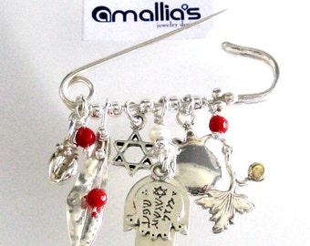 Baby Crib Charm  Brooch  // Sterling Silver Good Luck Brooch // Safety Pin Hamsa with Coral // Handmade Kbala Jewelry