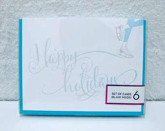Ice Skates - Happy Holidays - Box Set of 6 - Delicate - Typography - winter - skating - letterpress