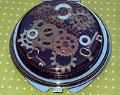 Steampunk Metal Round Compact Mirror - Real Starfish, Sea Shells, and plant life