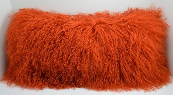 Tangerine Orange Mongolian Tibetan Lamb Fur Pillow New Made In