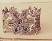 Aprils kiss: Bracelet w/ Antique French real gold lace, antique metallic applique vintage sequins dusty pink swarovski. Boho bride valentine