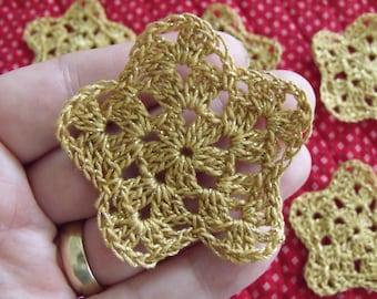 Set of 12 Crochet Stars Gold Holiday Christmas