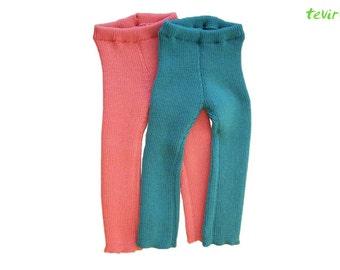 Leggings - 1, 2, 3, 4, 5, 6, 7, 8 years - 100% MERINO wool children kid baby boy girl longies pants knit knitted hand made