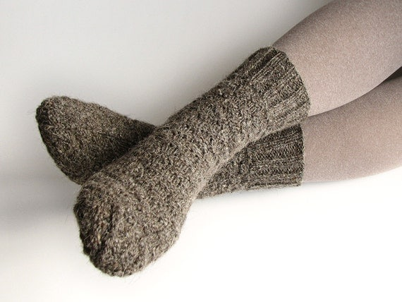 Warm Hand Knitted Woolen Socks - 100% Natural Wool - Winter Clothing