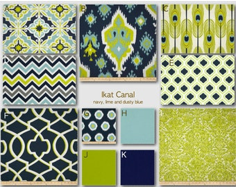 Custom Crib Bedding- Design Your Own Bedding/ Dorm Bedding- Glider Cushions- Ikat Canal- navy, lime and blue