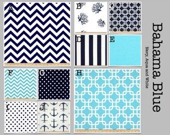 Custom Baby Crib Bedding -Design Your Own Bedding/ Dorm Bedding- Glider Cushions-  Modern Bahama Blue- navy, aqua and white