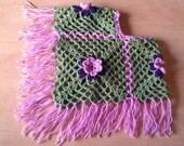 crochet poncho- baby poncho- childrens poncho- childrens clothes- baby clothes- childrens accessories- rose poncho- vintage style poncho