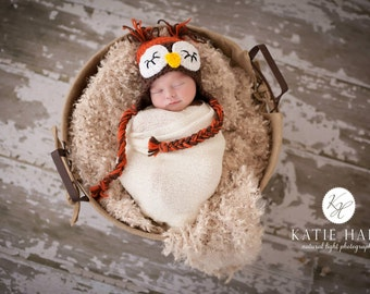 Crochet Sleepy Owl Hat with braids, Crochet Owl Hat - All Sizes - Great Photo Prop