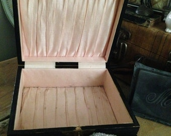Vintage Austrian Court Box Satin Pink Pleated Lining Brass Overlay