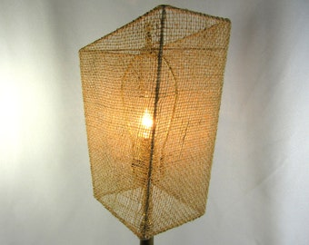 Lamp Shade Custom Trapeziod Beige Burlap Unique Hand Made in NYC