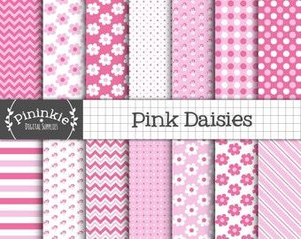 Pink Digital Paper, Flowers, Polka Dots, Diagonal Stripe, Chevron Scrapbooking Paper