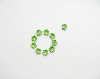 Crochet Flower Appliques, Tiny Small Cute Flowers, Decorative Motifs, Spring Green, Light Green, Set of 10, Embellishments, Scrapbooking