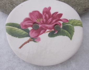Pink Rhododendron Posy Ceramic Button