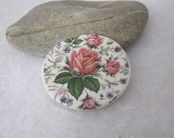Retro Pink Rose Flower Posy Button