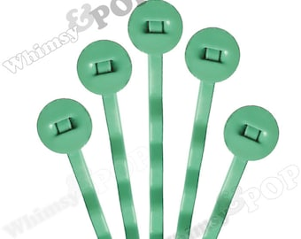 25 PACK - Bobby Pins, Green Bobby Pin Blanks, Painted Bobby Pins, Color Bobby Pins, Bobbie Pins, 50mm wide, 8mm Glue Pad (R7-158)