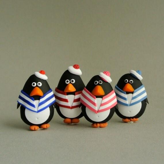 Sailor penguin brooch - Cute Christmas gift for children  - sea birds jewelry - fun animal jewelry - stocking stuffer