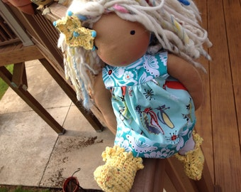 Waldorf doll clothes, 4 pc, Atomic Cats by Michael Miller OOAK