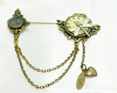 Vintage Victorian Steampunk Clock Dragonfly Penny Farthing Bicycle Stick Pin