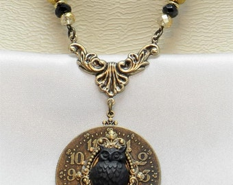 Vintage Victorian Steampunk Filigree Black Owl  Focal Crystal Beaded Chain Pendant Necklace