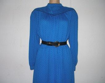 Navy / Blue Dress / Dress Vintage / Black Polka Dots / Size  EUR44 / UK16