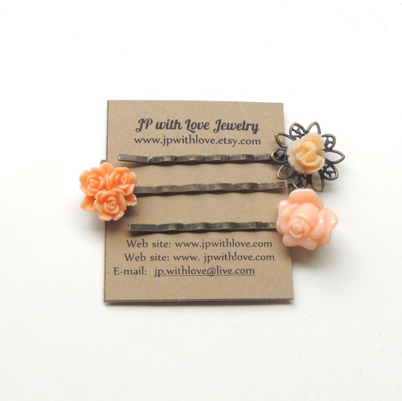 Flower Hair pins, peach hair pins, bridesmaid gift, rose, Set of 3,