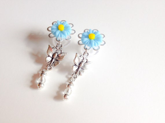 00g Girly Plugs, 8mm 0g Daisy Plugs, 5mm 4g Flower Blue Plugs, 8 Colors 6mm 2g Dangle Plugs with Butterfly, Summer Body Jewelry