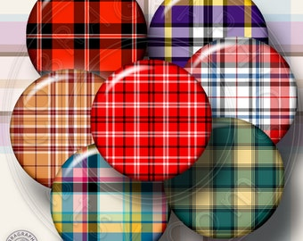 Digital Collage Sheets - Plaid Patterns - 20mm, 18mm, 16mm, 14mm and 12mm circles - Digital Downloads CG-543 for Jewelry Making, Crafts