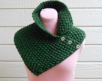 Asymmetrical Chunky Forest Green Cowl With Collar