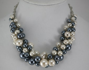Charcoal (dark gray/grey) along with ivory chunky pearl necklace perfect for your bridesmaids or wedding