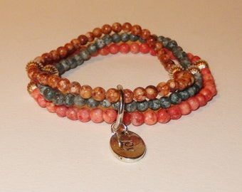 Tripple strand Jasper bracelet with Blue Jasper, Peach Jasper, Brown Jasper and a JOY charm