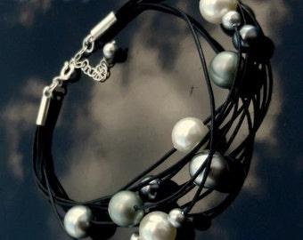 Sweet Harmony sterling silver bracelet adjustable leather Swarovski Pearls