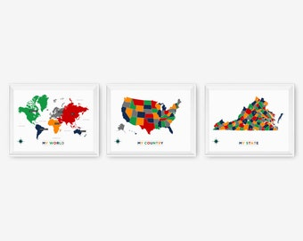 My World, My Country, My State Set of 3, Playroom Decor, Kids Wall Art, Nursery Room Decor, Children Art
