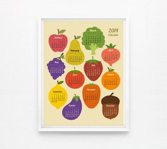 Kitchen Decor Vegetables: Items Similar To 2014 Calendar Retro Fruit And Vegetable