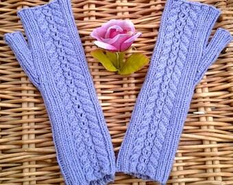 Women's / teen girls wristwarmers armwarmers fingerless gloves mittens handknit with Merino mix yarn - Mother's Day gift.