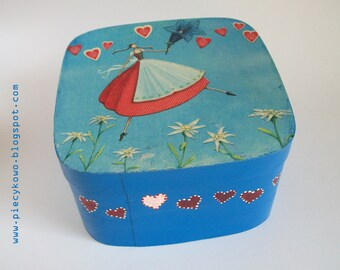 Lovely Decoupaged Jewelry Box - Blue Red White - OOAK - Handmade Handpainted