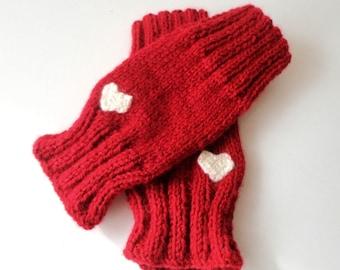 gift for her / valentines day gifts / Red Fingerless Gloves Knit Heart Gloves Mittens Arm Warmer Hand Warmer Winter Gloves Valentine fashion