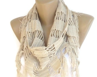 cotton crochet scarf ,shawl ,women crochet wrap ,spring summer crochet scarves
