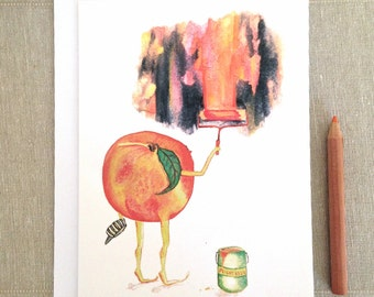Peach - Thanks! You're a peach! - thank you, thanks, thinking of you, engagement, peachy keen, Greeting Card