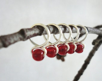 Pomegranate - Handmade Snag Free Knitting Stitch Markers (Small) - Fit up to size 8 US (5.0 mm)