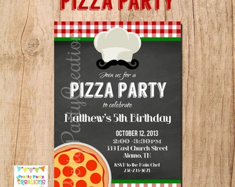 CHALKBOARD PIZZA invitation - YOU Print