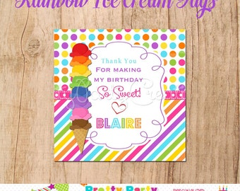RAINBOW ICE CREAM favor tags -  You Print
