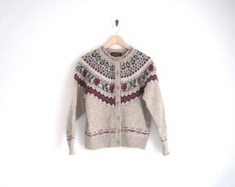 vintage floral knit cardigan sweater / rose & geometric / grandma's wool sweater / marled jumper