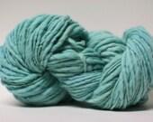 Thick and Thin Wool Yarn Slub TTS(tm) Handdyed  Fine Merino 66tts14009 Seafoam