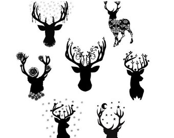 deer silhouette clipart, romantic woodland deer images, retro deer silhouette digital sheet, deer silhouette, woodland, retro,