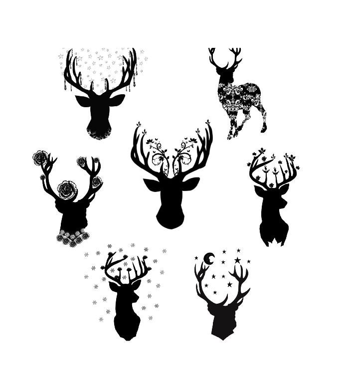 Deer Silhouette Clipart Romantic Woodland Deer Images