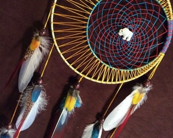 Spirit Moon Dream Catcher- Special Moon Motions Signature Silver Ringed Dream Catcher- Made to Order