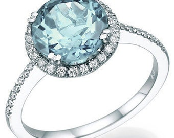 Aquamarine Engagement Ring 14k White Gold with Diamonds March Birthstone Art Deco Diamond Ring