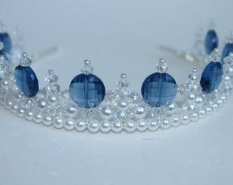 Princess Blue Regal Pearl and Crystal Tiara