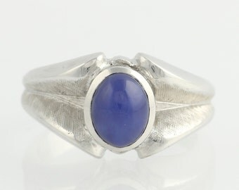 Men's Synthetic Star Sapphire Ring - 14k White Gold Fashion Polished 2.60ct F1357