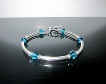 Swarovski Teal Crystal and Sterling Flexible Bangle Bracelet